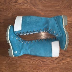 Timberland 7.5 Knee High Lace Up Blue Suede Boots